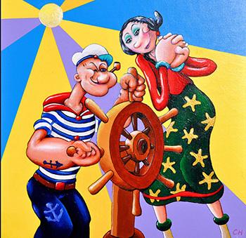 sold - Popeye & Olive Oyl - 51cm x 51cm