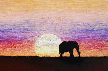 Lonely Elephant - 119cm x 79cm