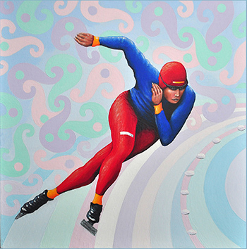Winter Olympics 61cm x 61cm. Ice skater painting by #cliffhowardartist