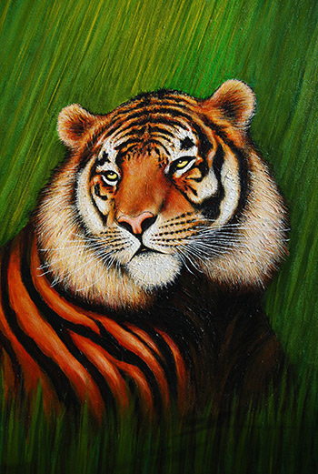 Tiger - 92cm x 61cm. Painting on canvas by artist #cliffhowardartist