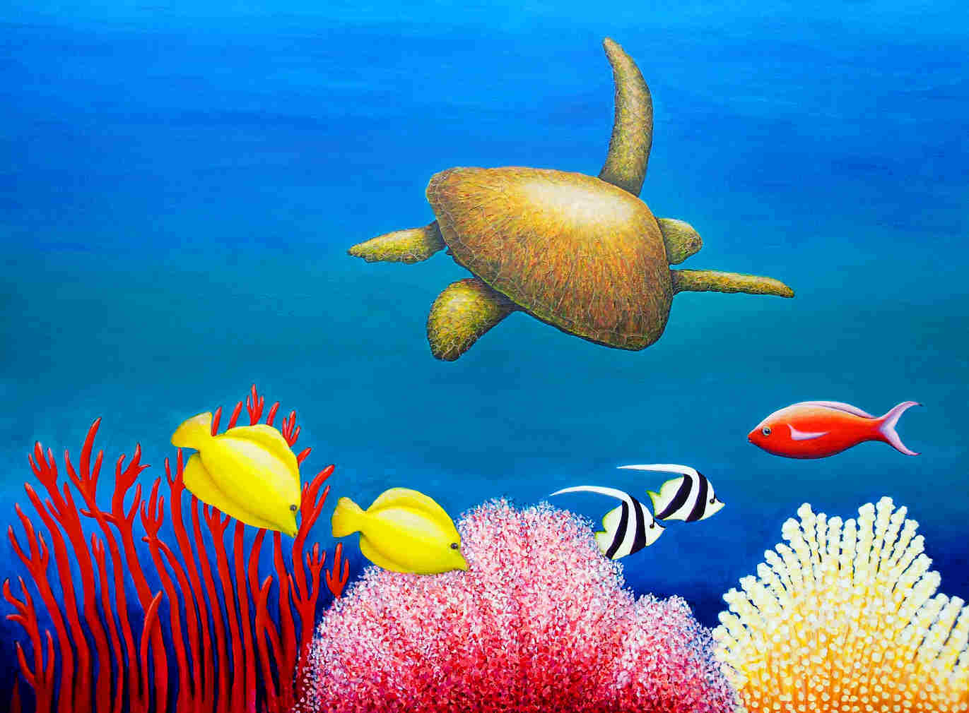 Green Sea Turtle painting 110 x 76 cm