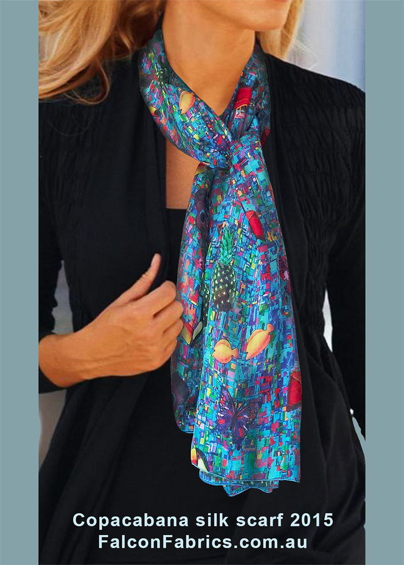 'Copacabana' silk scarf
