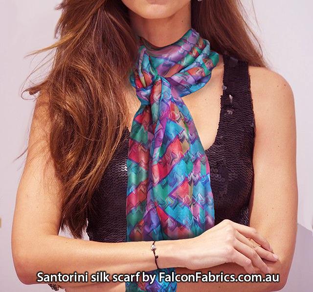 'Santorini' silk scarf