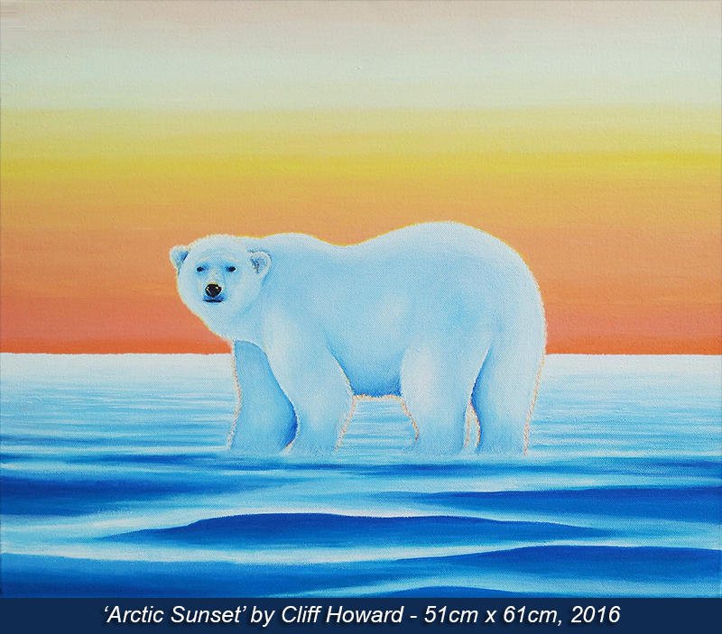 Painting on canvas of a polar bear 2016. By Cliff Howard