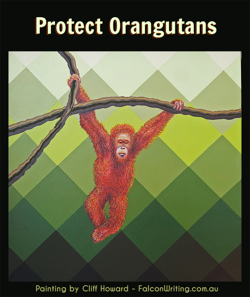 Painting of an orangutan by Cliff Howard