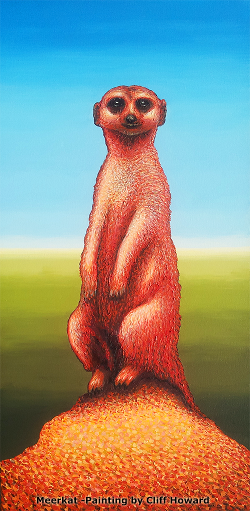Painting of a meerkat - 81cm x 40cm - by Cliff Howard