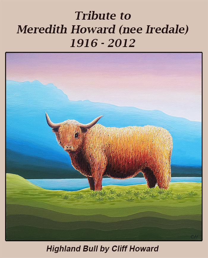 Painting of a highland bull by Cliff Howard