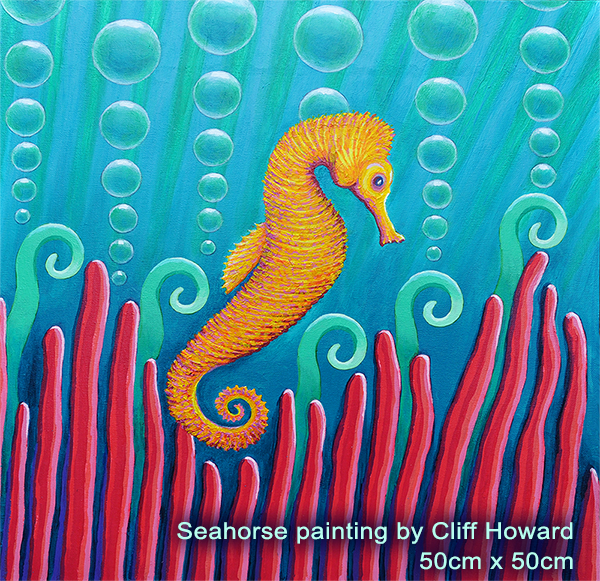 Seahorse - painting on canvas by Cliff Howard