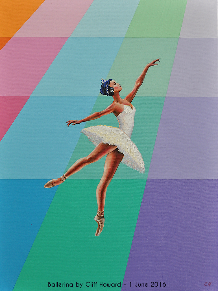 Swan Lake painting on canvas by Cliff Howard