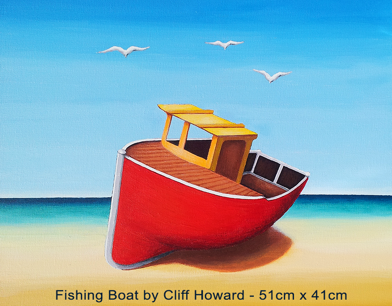 Fishing Boat - painting on canvas by Cliff Howard
