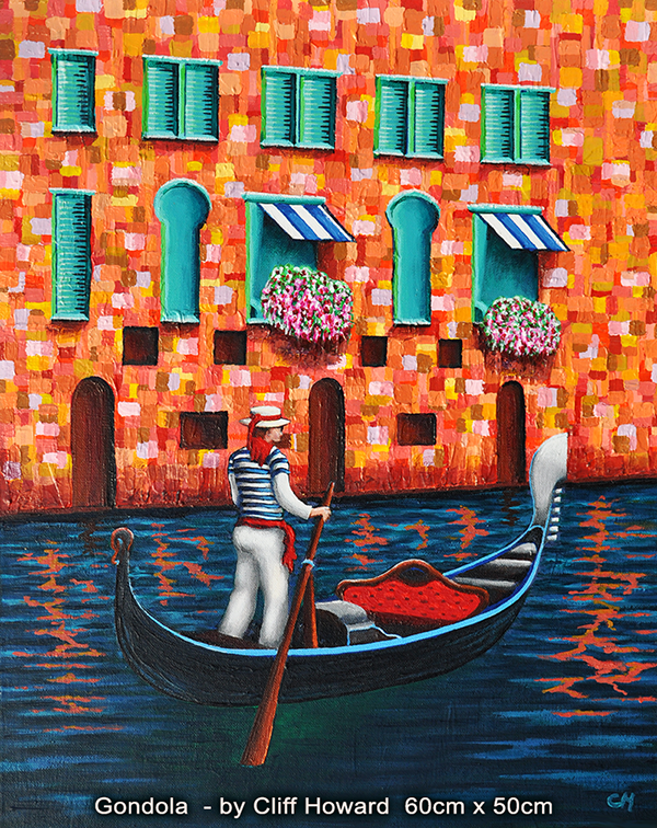 Venice Gondola painting on canvas by Cliff Howard