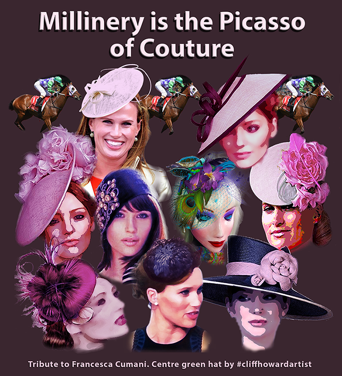 Millinery tribute to #FrancescaCumani. Centre green hat by #cliffhowardartist