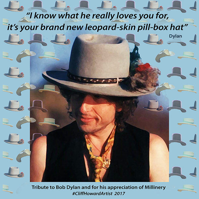 #BobDylan #cliffhowardartist #millinery Instagram: CliffHowardArtist Facebook: @artistcliffhoward