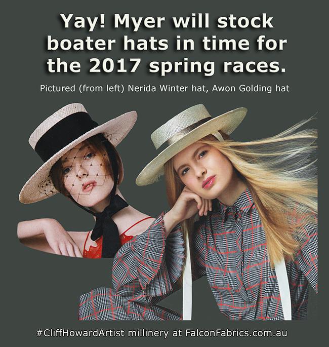 #Myer #trending #boaterhats #Melbourne #springracing #Millinery #visitmelbourne #CliffHowardArtist #FashionWeek #hats