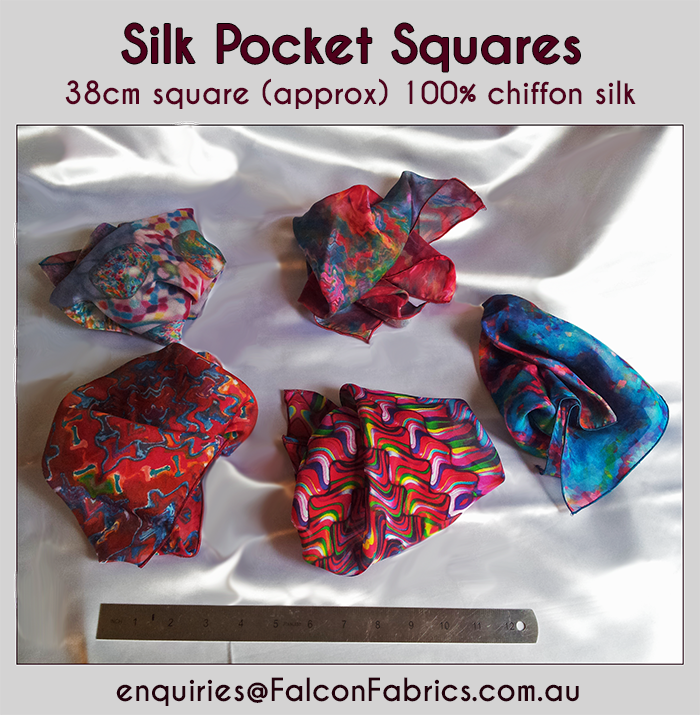 #Chiffon-silk #pocket-squares Made in Australia by #CliffHowardArtist