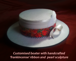 Customised boater with handcrafted 'frankincense' ribbon and pearl sculpture . #CliffHowardArtist #hats