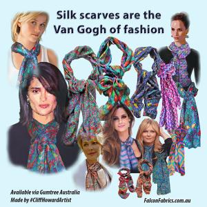 silk scarves #CliffHowardArtist #FalconFabricsAustralia