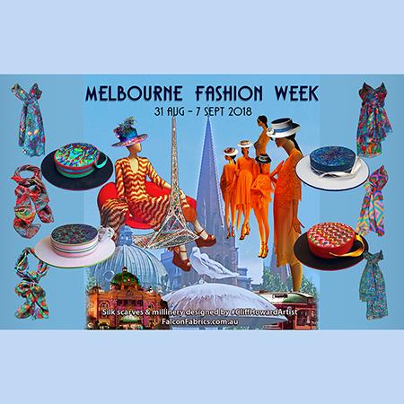 #CliffHowardArtist #fashionweek #MFW #DavidJones #millinery #silkscarves #scarves