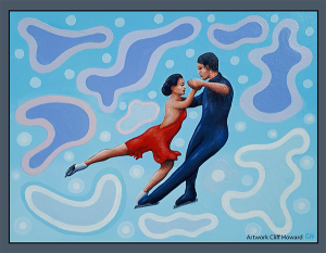 Acrylic #painting on canvas by Cliff Howard. Ice-dancing. #figureskating #CliffHowardArtist