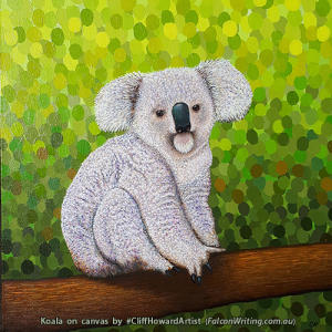 Acrylic #painting of a koala bear - on canvas by Cliff Howard. #CliffHowardArtist #Australia #wildlife #animals #art