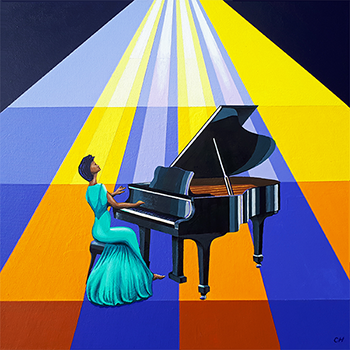 Painting on canvas of a pianist by #CliffHowardArtist