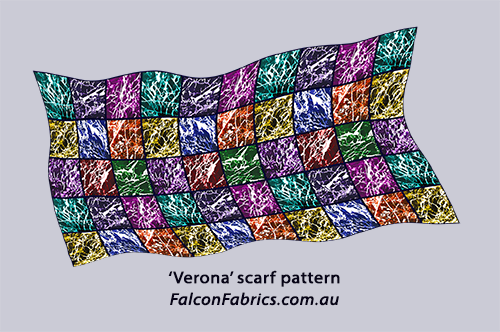 #CliffHowardArtist #silkscarves #silk #scarves #Verona #FalconFabrics.com.au