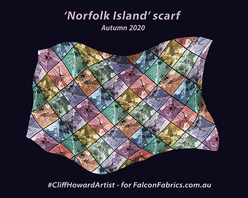 #CliffHowardArtist #silkscarves #silk #scarves #NorfolkIsland #FalconFabrics.com.au